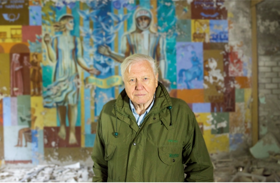 Sir David Attenborough in Chernobyl, Ukraine photographed while filming David Attenborough: A Life On Our Planet.